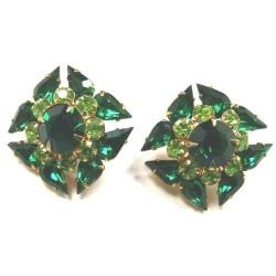 Green glass clip on earrings – Gillain Horsup, Grays Antiques