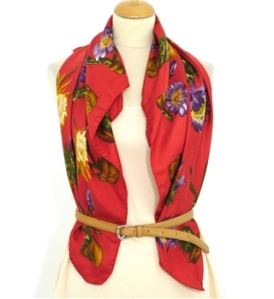 Bright red cactus print silk scarf – Oxfam Vintage