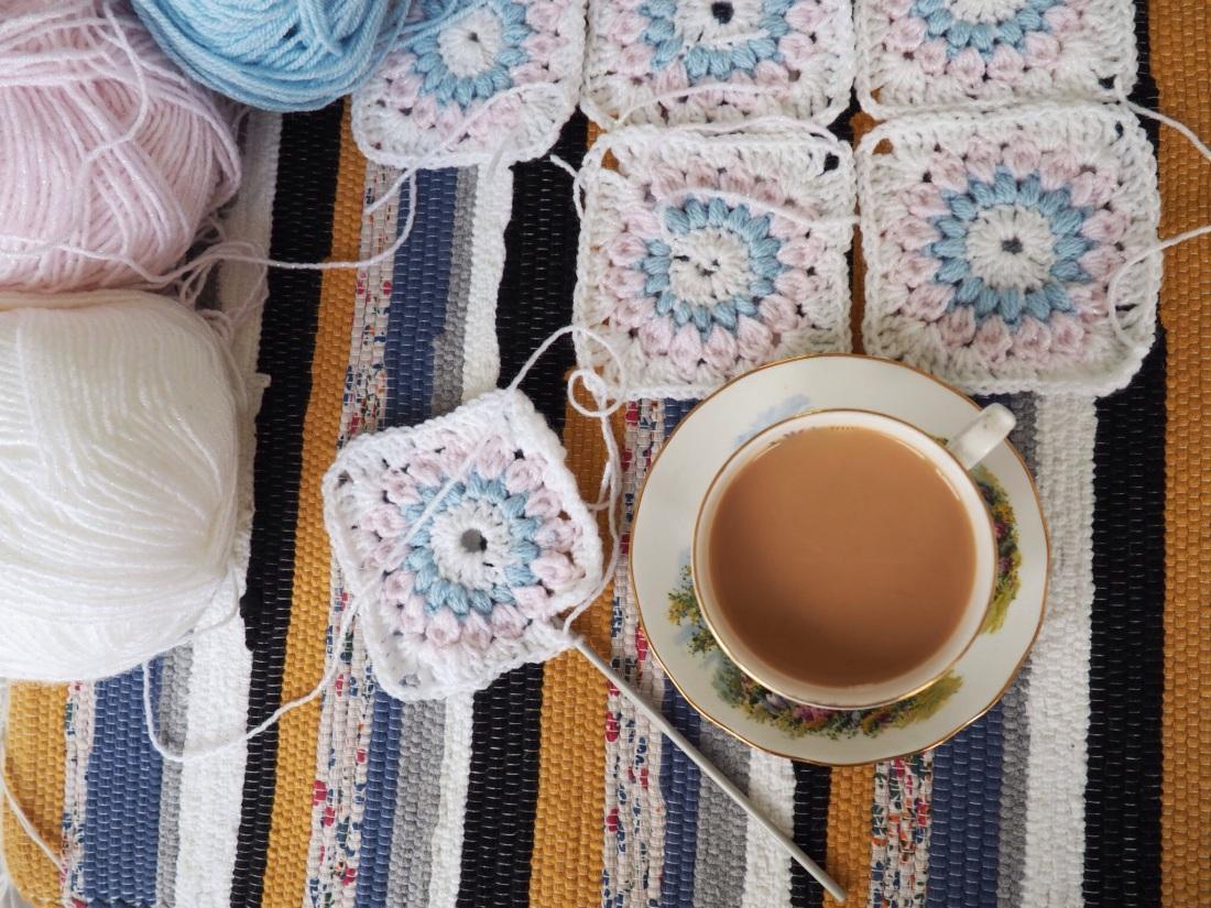 Crochet sunburst granny square afghan baby blanket