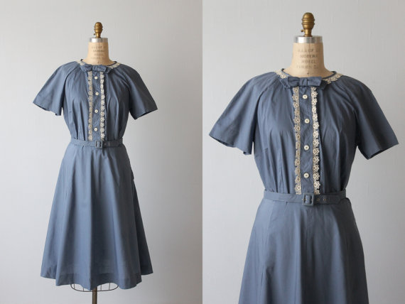 Vintage blue cotton dress from the Vintage Mistress