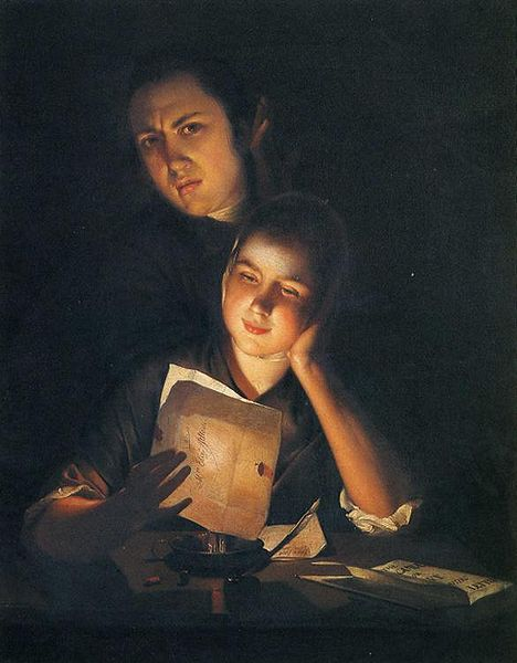 468px-Joseph_Wright_of_Derby._Girl_Reading_a_Letter_by_Candlelight,_With_a_Young_Man_Peering_over_Her_Shoulder._c.1760-62
