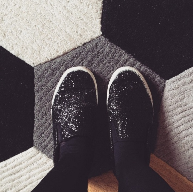 Black tights and glittery shoes